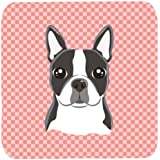 "Caroline's Treasures BB1203FC Checkerboard Pink Boston Terrier Foam Coaster (Set Of 4), 3.5"" H X 3.5"" W, Multicolor"