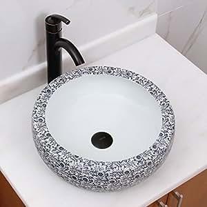 Blue And White Vessel Sink : Chrysanthemum Blue and White Porcelain Ceramic Bathroom Vessel Sink ...