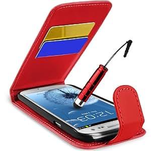 Supergets Hülle für Samsung I9300 Galaxy S III S3 Imitat Leder Tasche Hülle Schale in Rot, Mini Eingabestift, Schutzfolie, Zubehör Set