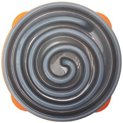 Kyjen 2869 Slo-Bowl Slow Feeder Slow Feed Interactive Bloat Stop Dog Bowl, Large, Grey