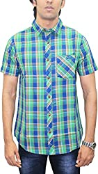 AA' Southbay Men's Mint Green & Blue Twill Checks 100% Premium Cotton Half Sleeve Casual Shirt