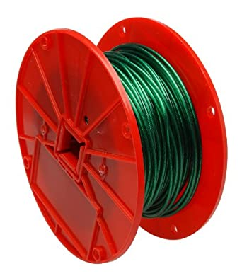 "Galvanized Steel Wire Rope on Reel, Vinyl Coated, 1x7 Strand, Green, 1/16"" Bare OD, 1/8"" Coated OD, 250' Length, 28 lbs Breaking Strength"