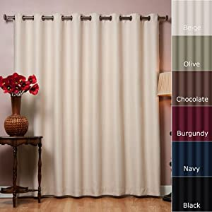 "Wide Width Grommet Top Thermal Blackout Curtain 100""W X 84""L Panel - Beige - BWW"