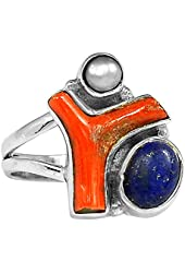Xtremegems Red Coral & Lapis & Cultured Pearl 925 Sterling Silver Ring Jewelry Size 8 1944R