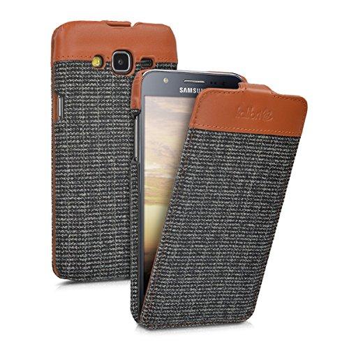 kalibri-Flip-Case-Hlle-Emma-fr-Samsung-Galaxy-J5-2015-Aufklappbare-Stoff-und-Echtleder-Schutzhlle-Tasche-im-Flip-Cover-Style-in-Braun-Anthrazit