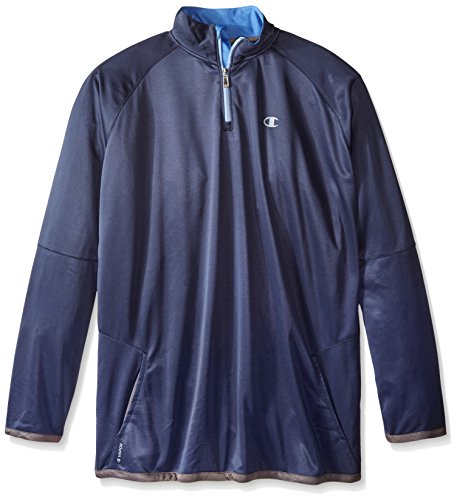 Champion Men's Big-Tall Poly Jersey Long Sleeve 1/4 Zipper, Navy/Candid Blue, 2X/Tall (Champion Pullover Piece compare prices)