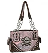 Pink Print Skull Studded Conceal and Carry Purse
