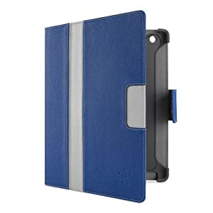 Belkin Cinema Stripe Folio Case with Stand for the Apple 4th/3rd Generation and iPad 2 (Blue/Light Grey) by Belkin Components