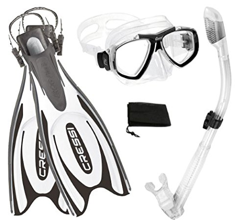 Cressi Frog Plus Fin Focus Silicone Mask Dry Snorkel Set, White, X-Small/Small/Men' s 5-7/Women's 6-8