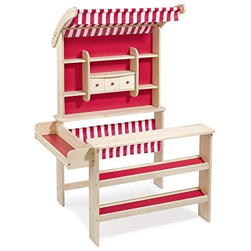 Kaufladen Mit Markise Holz Von Eichhorn ~ super Kaufladen aus Holz von howa natur  rot mit Markise
