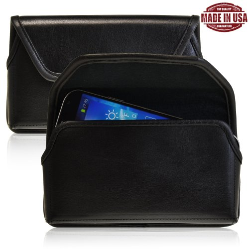 Turtleback Genuine Leather Holster Case Pouch With Metal Belt Clip Fits Samsung Galaxy Note 3 Iii With Otterbox / Ballistic Case- Made In Usa