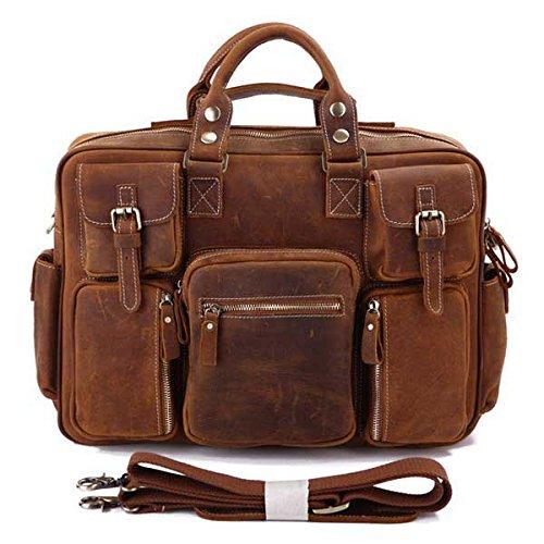 STILORD Borsa a Tracolla Messenger bag grande Notebook 15.6'' borsa a tracolla borse in vera pelle unisex Retro Vintage rosso-bruno