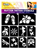 Glimmer Body Art Hibiscus Luau Glitter Shimmer Tattoo Stencil Set Party Accessory