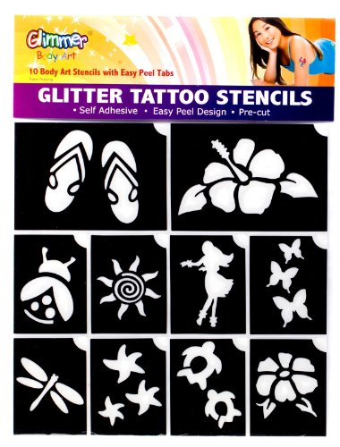 Glimmer Body Art Hibiscus Luau Glitter Tattoo Stencil Set - 1