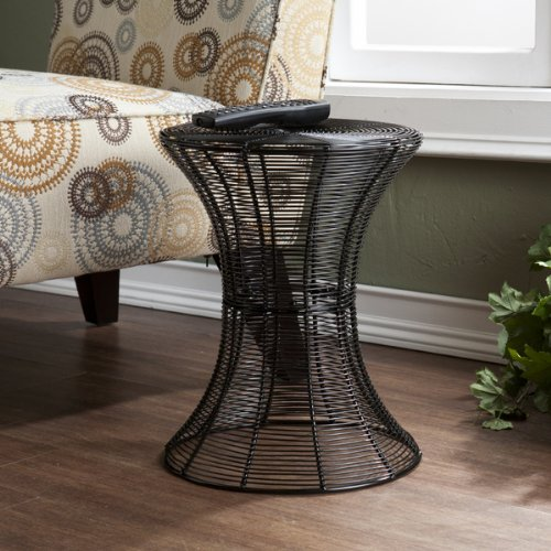 Southern Enterprises OC6601 Indoor/Outdoor Round Metal Accent Table, Black
