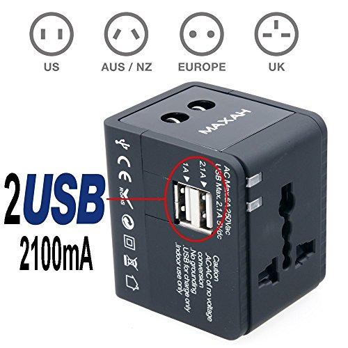 MAXAH® Adattatore Universale da Viaggio /Tutto in uno adattatore /All-in-One Universal World Wide/Travel Adapter con indicatori accensione e 2 USB ---2.1 A (Nero)
