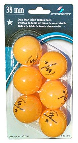 Sportcraft Orange 38mm One Star Ping Pong Balls Table