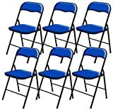 6 x DNY Blue Padded, Folding, Desk Chair Seat Comfort Foldable Easy Carry & Storage, width 40cm