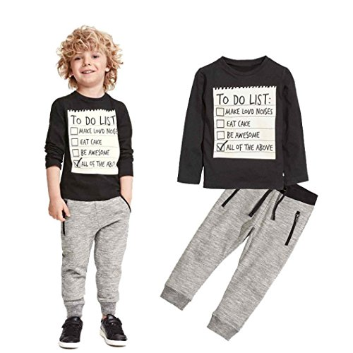 Elevin(TM)Kids Toddler Boys Handsome Black Blouse Tshirt+ Gray Casual Pants Outfits (5T) (Boys Capri Pants compare prices)
