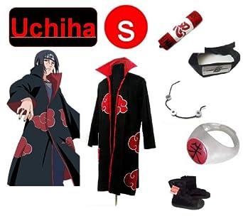 Naruto Itachi Uchiha cosplay costume and shoes set size Small