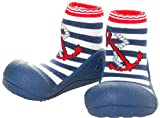 ATTIPAS Toddler Blue-Red Cotton First Walking Shoes Flats, Large