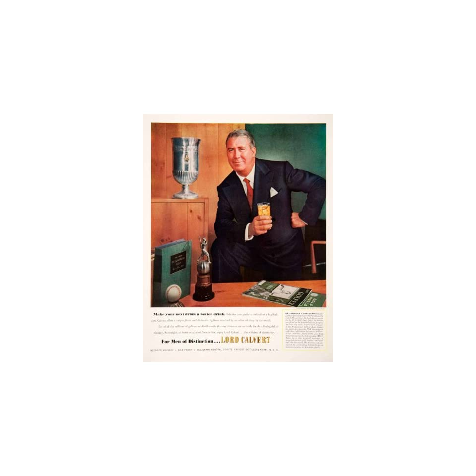 1952 Ad Lord Calvert Blended Whiskey Frederick J Concoran Sports Golf Executive   Original Print Ad