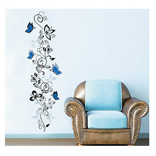 Black Blue Butterfly elegant flower vine Removable Mural Art Decal Wallpaper wall stickers