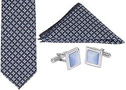 Clareo Men's Aztec Tie Set - Combo Pack of 3 (Blue)