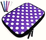 Flash Superstore Bundle Pack of 5 Capacitive/Resistive Touchscreen Stylus Pen & Polka Dots Purple / White ( 7 Inch Tablet / eReader ) Water Resistant Neoprene Soft Zip Case/Cover suitable for Blackberry Playbook ( 7 Inch Tablet )