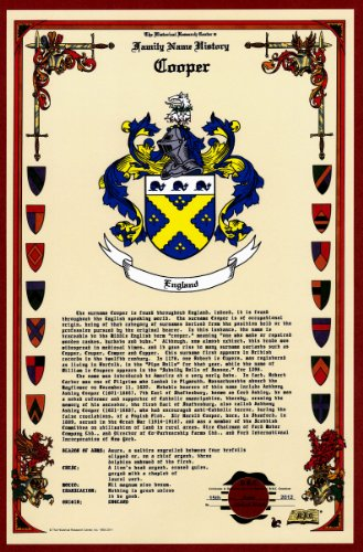 Cooper Coat Of Arms/Crest And Family Name History, Meaning & Origin Plus Genealogy/Family Tree Research Aid To Help Find Clues To Ancestry, Roots, Namesakes And Ancestors Plus Many Other Surnames At The Historical Research Center Store front-433205