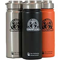 18 Oz Insulated Stainless Steel Water Bottle And Beer Growler W/ Steel Lid & Handle - NO PLASTIC - COLD Up To...