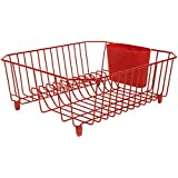Rubbermaid AntiMicrobial In-Sink Dish Drainer, Red, Large (FG6032ARRED)