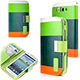 Generic Wallet PU Leather Case Card Holder Flip Case Cover for Samsung i9300 Galaxy S3 III - Retail Packaging - Lime/Green/Orange