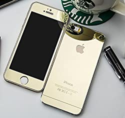 Electroplated Mirror Front + Back Tempered Glass Screen Protector For Apple iPhone 6 Plus, 6S Plus - Gold