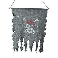Halloween Cosplay Costume Tattered Pirate Flag Red Bandana Skull & Crossbones Hanging Flag by Gardeningwill