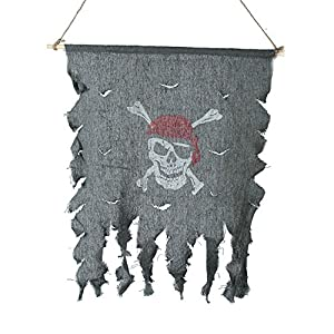 Halloween Cosplay Costume Tattered Pirate Flag Red Bandana Skull & Crossbones Hanging Flag by Gardeningwill