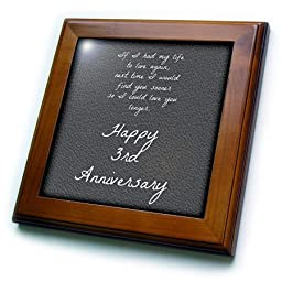 3dRose ft_221894_1 3rd Anniversary Love You Longer on Faux Leather-Like Background Framed Tile, 8 by 8\