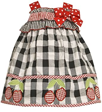 Size-4T BNJ-3152M BLACK WHITE RED CHECKS and CHERRY BORDER BOW SHOULDER Spring Summer Party Dress,M23152 Bonnie Jean TODDLERS