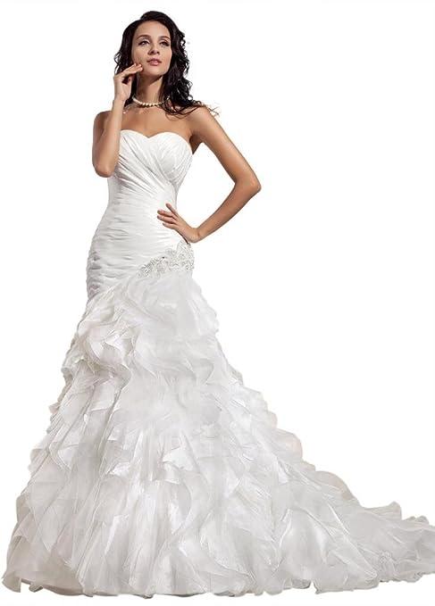 GEORGE BRIDE Taffeta Sweetheart Mermaid Chapel Train Wedding Gowns