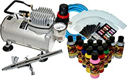 New NAIL ART PAINT STENCIL AIRBRUSH KIT-Air Compressor