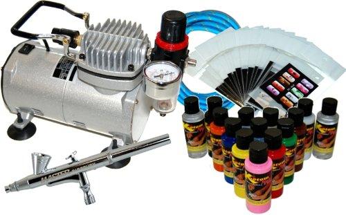 New Nail Art Paint Stencil Airbrush Kit Air Compressor