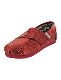TOMS Infants TOMS TINY CLASSICS RED GLITTER CASUAL SHOES