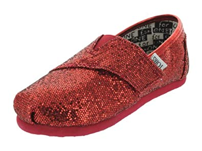 TOMS Kids's TOMS YOUTH CLASSICS RED GLITTER CASUAL SHOES 4.5 (RED)
