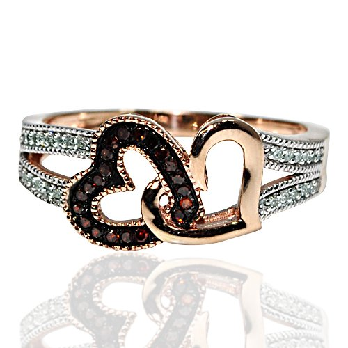 Red Diamond Hearts Rose Gold Ring 0.15ct Real Diamonds Double Heart