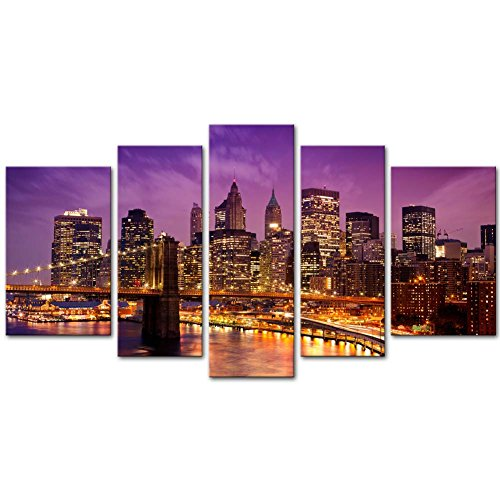 Canvas Print Wall Art Painting For Home Decor,Purple Brooklyn Bridge And Manhattan Skyline At Night, New York City Skyline City Landmark With Lights At Dusk After Sunset Cityscape 5 Piece Panel Paintings Modern Giclee Stretched And Framed Artwork The Picture For Living Room Decoration,City Pictures Photo Prints On Canvas (New York Brooklyn Bridge Poster compare prices)