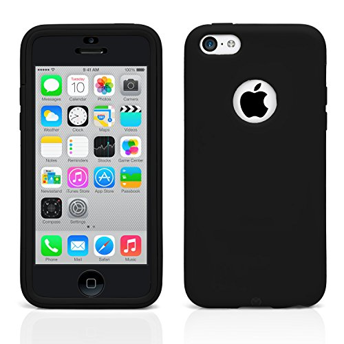 iPhone 5C Case, MagicMobile® Ultra Slim Hybrid Protective Case For Apple iPhone 5C Wrap-Up Armor TPU Cover Impact Resistant Shockproof iPhone 5C Cute Case with Built-In Screen Protector [Black] (Iphone 5c Protective Case Cute compare prices)