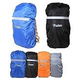 ザックカバー 登山 旅行 通勤通学用のバックパックの雨具 選べる12種/SML 4色/リフレクターで夜間や暗がりでも大丈夫/オリジナル カラビナホイッスル付き (オレンジ, Lサイズ:55-80L)