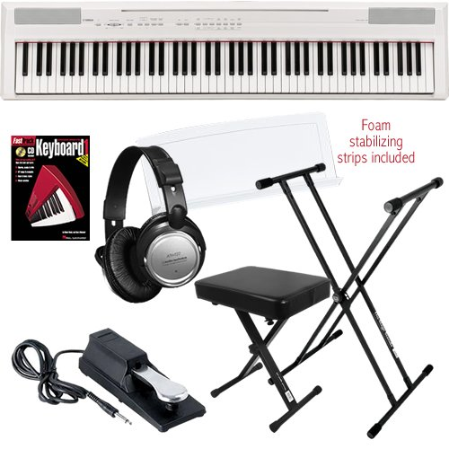 Yamaha P-105 Digital Piano (White) Essentials Bundle W/ Stand, Pedal & Headphones