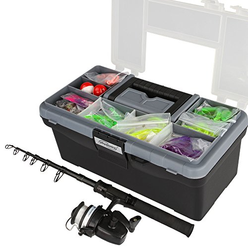 Physionics® 130-teiliges Angelset Anglerausrüstung inkl. Angelrute, mit Koffer und umfangreiches Angelzubehör