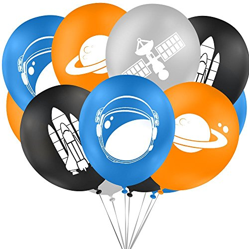 Outer space party balloons, decorations and supplies for themed favors bags. (16 Piece Value Pack) Premium 12